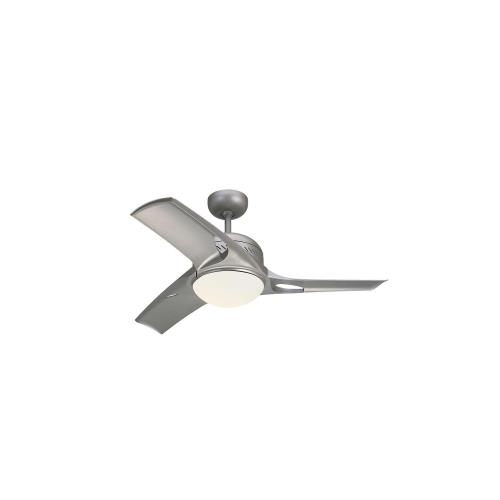 Monte Carlo Fans 3MTR38 Mach Two - 3 Blade Ceiling Fan with Handheld Control and Includes Light Kit in Modern Style - 38 Inches Wide by 14.44 Inches High