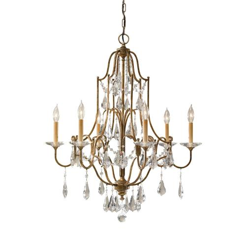 Feiss F2478/6 Valentina - Chandelier 6 Light Steel in Crystals Style - 28.5 Inches Wide by 32.75 Inches High