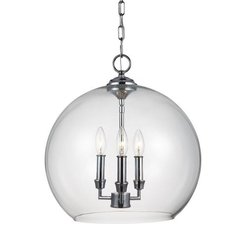 Feiss F3155/3 Lawler - Pendant 3 Light in Traditional Style - 16 Inches Wide by 16.75 Inches High