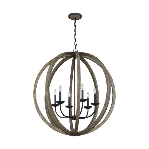 Feiss F3186/6 Allier - Chandelier 6 Light Steel in Transitional Style - 38 Inches Wide by 40.88 Inches High