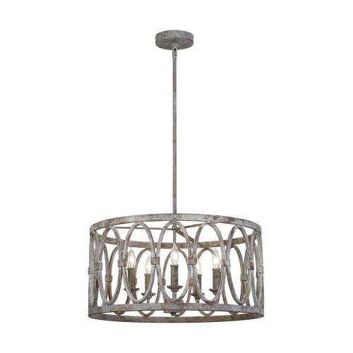 Feiss F3222/5 Patrice - Chandelier 5 Light Steel in Transitional Style - 21 Inches Wide by 10.75 Inches High
