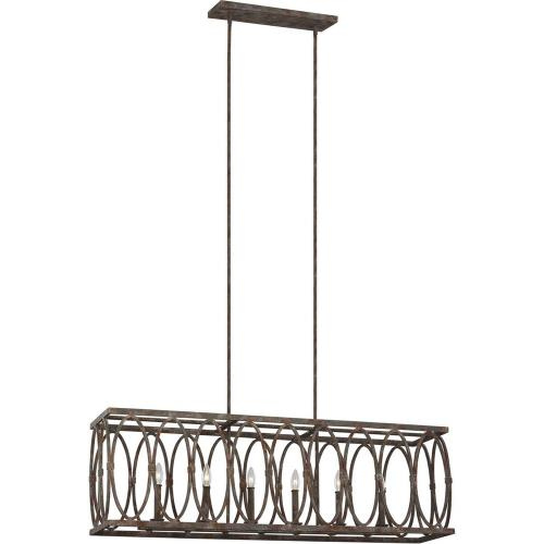 Feiss F3224/6 Patrice - Linear Chandelier 6 Light Steel in Transitional Style - 10.38 Inches Wide by 15.5 Inches High