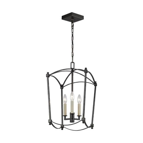 Feiss F3321/3 Thayer - Chandelier 3 Light Steel in Period Inspired Style - 12 Inches Wide by 20.38 Inches High