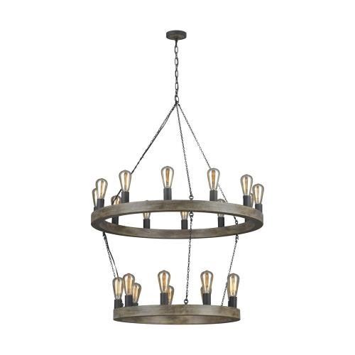 Feiss F3934/21 Avenir - 2-Tier Chandelier 21 Light Steel in Old World Style - 36 Inches Wide by 48 Inches High