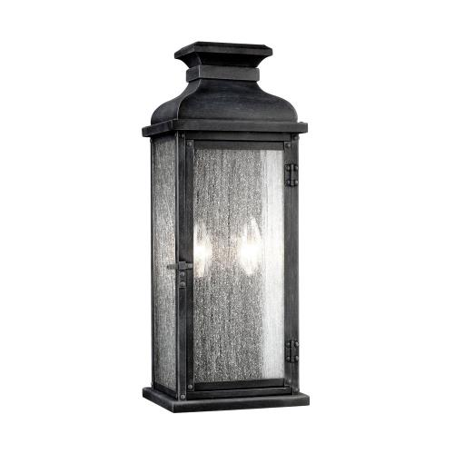 Feiss OL11101 Pediment - Two Light Outdoor Wall Sconce in Transitional Style - 7 Inches Wide by 18.13 Inches High