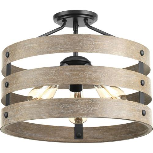 Progress Lighting P350049-143 Gulliver - Close-to-Ceiling Light - 3 Light in Coastal style - 17 Inches wide by 13.5 Inches high