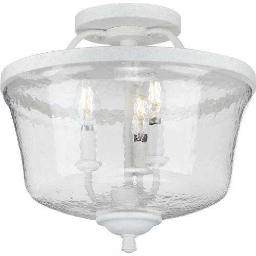 Progress Lighting P350148 Bowman - 13.375 Inch Height - Close-to-Ceiling Light - 3 Light - Bell Shade - Line Voltage