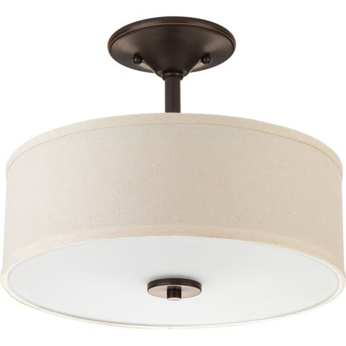 Progress Lighting P3712 Inspire - 10.125 Inch Height - Close-to-Ceiling Light - 2 Light - Line Voltage - Damp Rated