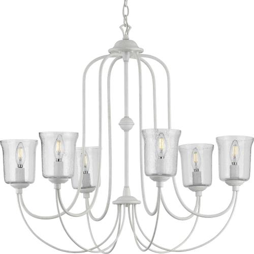 Progress Lighting P400195 Bowman - Chandeliers Light - 6 Light - Bell Shade in Coastal style - 32 Inches wide by 28.88 Inches high