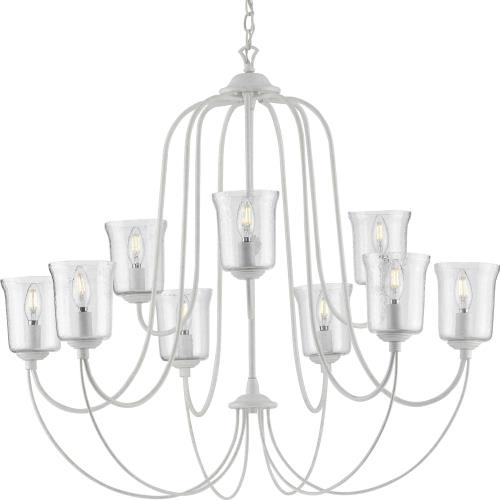 Progress Lighting P400196 Bowman - Chandeliers Light - 9 Light - Bell Shade in Coastal style - 37 Inches wide by 33.25 Inches high