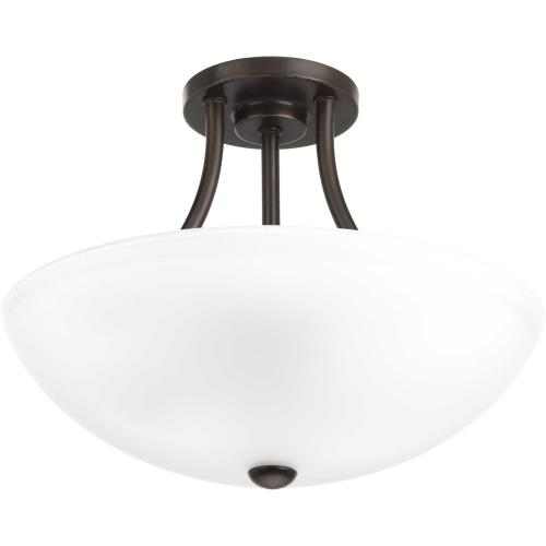 Progress Lighting P3748 Gather - Close-to-Ceiling Light - 2 Light - Bowl Shade in Transitional and Traditional style - 12.88 Inches wide by 10.38 Inches high