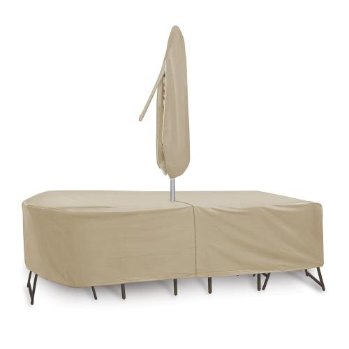 Protective Covers 1156T 120x60 Inch Oval/Rectangular Table and Chair Cover with Umbrella Hole