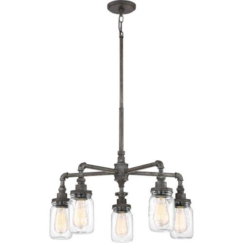 Quoizel Lighting SQR5005RK Squire Large Chandelier 5 Light  Steel