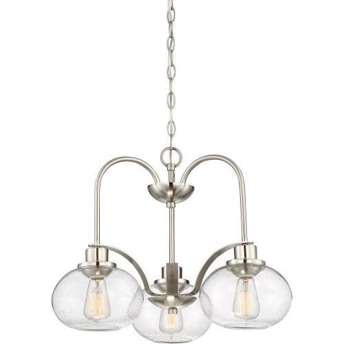Quoizel Lighting TRG5103BN Trilogy DInette Chandelier 3 Light Steel - 16.5 Inches high