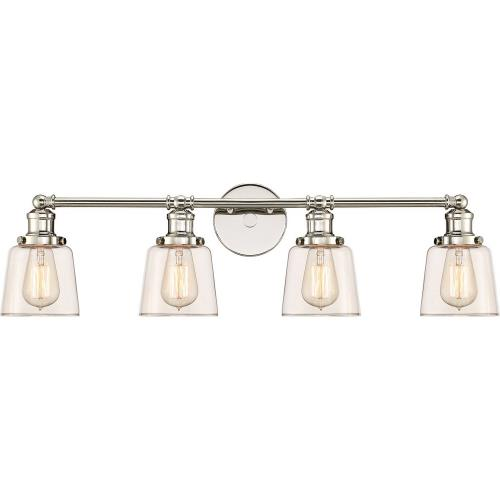 Quoizel Lighting UNI8604PK Union 4 Light Transitional Extra Large Bath Vanity Approved for Damp Locations - 9 Inches high