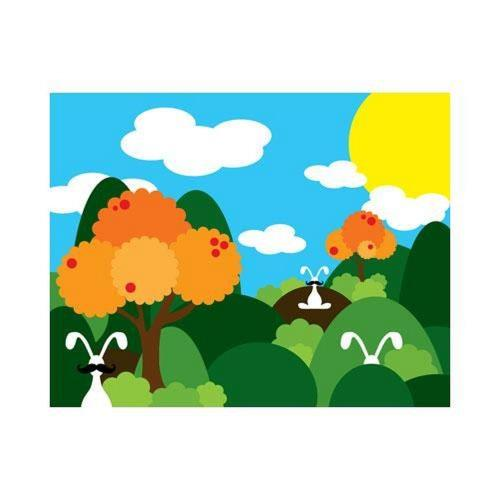 Robert Abbey Lighting ART26 20 Inch Bunny Fields Orange Wall Art