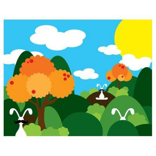 Robert Abbey Lighting ART27 24 Inch Bunny Fields Orange Wall Art