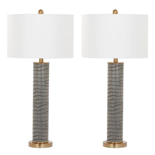 Safavieh LIT4404-SET2 Ollie - Two Light Faux Alligator Table Lamp (Set of 2)