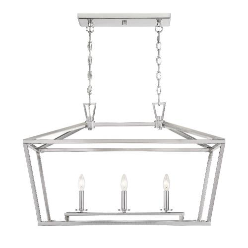 Savoy House 1-323-3 3 Light Linear Chandelier-Traditional Style with Transitional and Bohemian Inspirations-21 inches tall by 16 inches wide