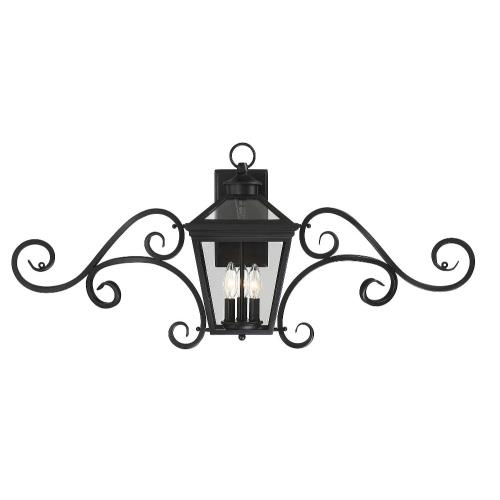 Savoy House 5-143 3 Light Outdoor Wall Lantern with Scroll - Modern Farmhousestyle with Rustic and Transitional inspirations - 16.5 inches tall by 38 inches wide