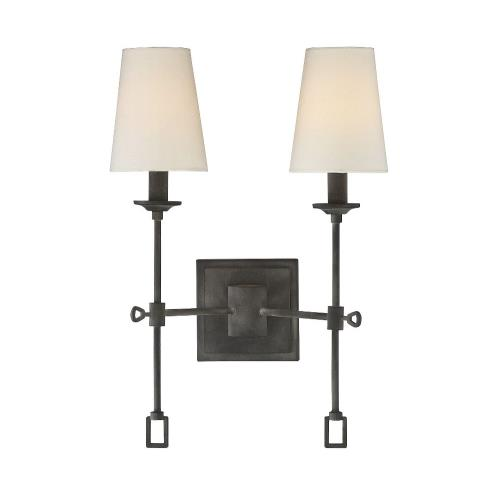 Savoy House 9-9004-2-88 2 Light Wall Sconce-Farmhouse Style with Rustic and Traditional Inspirations-17.5 inches tall by 11.5 inches wide