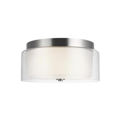 Sea Gull Lighting 7537302 Elmwood Park - 2 Light Flush Mount in Traditional Style - 14 inches wide by 6.13 inches high