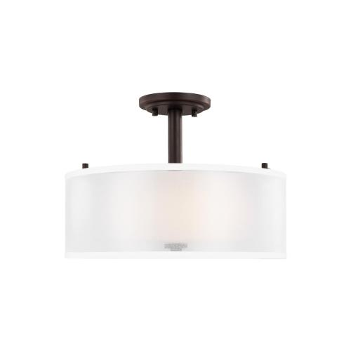 Sea Gull Lighting 7737302 Elmwood Park - 2 Light Semi-Flush Mount in Traditional Style - 15 inches wide by 11 inches high