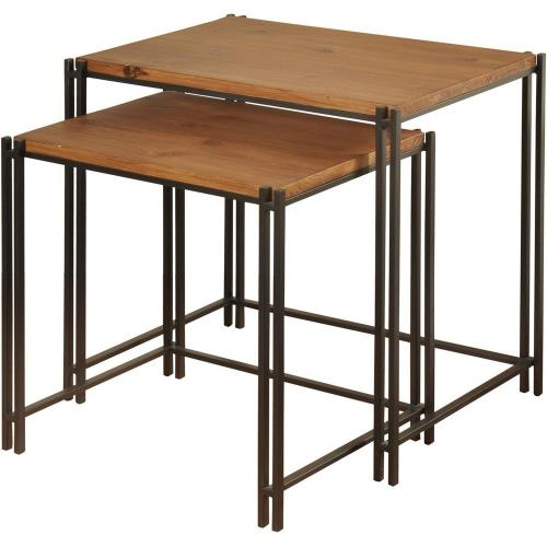 Stylecraft Home Collection SF225129DS 18 Inch Medium Wood Nesting Tables (Set of 2)