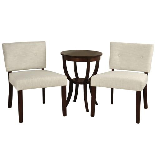 Stylecraft Home Collection SF234845DS Silk Road Branded - 26 Inch 2 Slipper Chairs & Side Table (Set of 3)