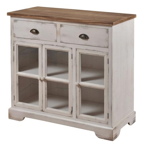 Stylecraft Home Collection SF24963DS Shabby Chic - 36 Inch 3 Door/2 Drawer Window Pane Cabinet