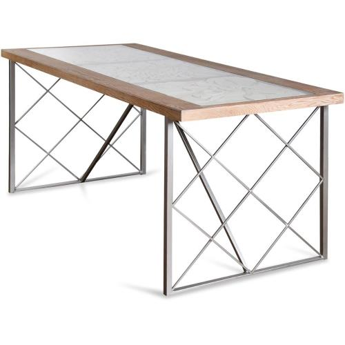 Stylecraft Home Collection SF25389DS 71 Inch Floral Engraved Glass Top Wood and Metal Dining Table
