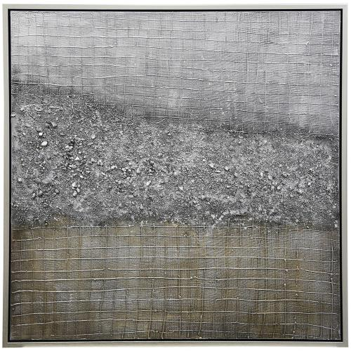 Stylecraft Home Collection WI33305DS Rock Bed Grid - 40 Inch Grid Abstract Framed Highly Textured Hand Painting on Stretched Canvas