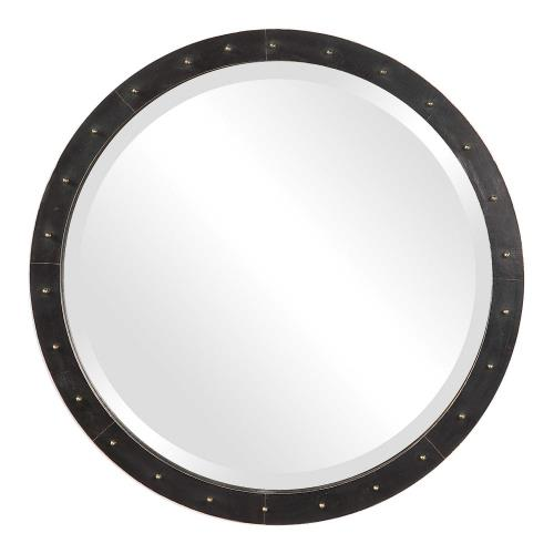 Uttermost 09454 Beldon - 25.5 inch Round Industrial Mirror - 25.5 inches wide by 3 inches deep