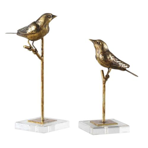 Uttermost 18898 Passerines - 13.25 inch Bird Sculpture (Set of 2) - 6.5 inches wide by 5.5 inches deep