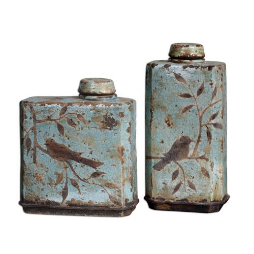 Uttermost 19547 Freya - 15.5 inch Container (Set of 2) - 8 inches wide by 4.75 inches deep
