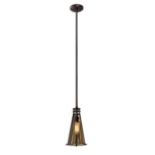 Uttermost 21965 Frisco Mini Pendant 1 Light Rustic Black Metal With A Plated Cognaced Glass Sh - 8 inches wide by 8 inches deep