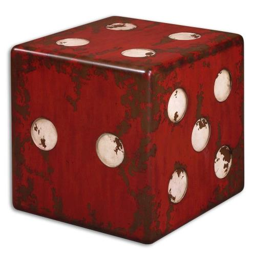 Uttermost 24168 Dice - 18.75 inch Accent Table - 18.75 inches wide by 18.75 inches deep