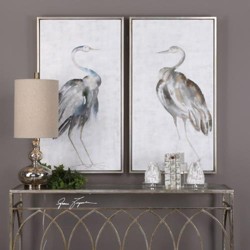 Uttermost 35353 Summer Birds - 46.75 inch Framed Art (Set of 2) - 25.75 inches wide by 1.75 inches deep