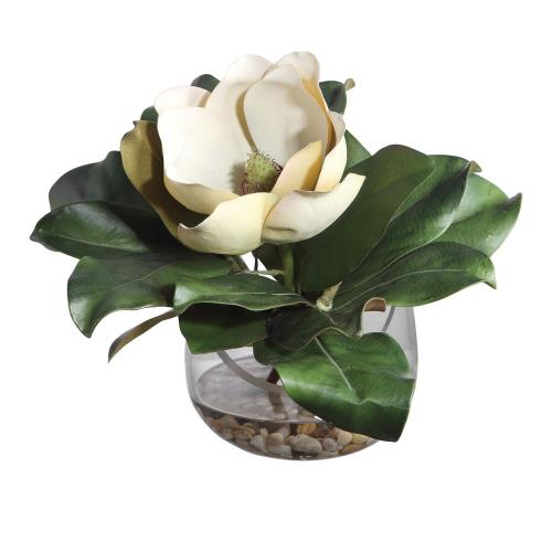 Uttermost 60144 Celia - 13 inch Silk Magnolia Accent - 13 inches wide by 8.5 inches deep