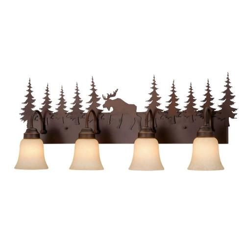 Vaxcel VL55604BBZ Yellowstone-Four Light Bath Bar-33 Inches Wide by 14 Inches High