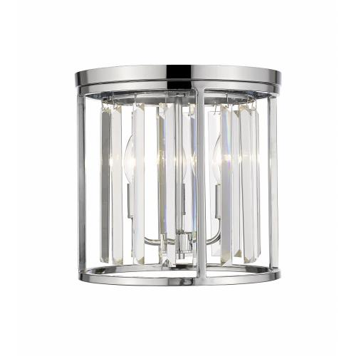 Z-Lite 439F12-CH Monarch - 3 Light Flush Mount in Fusion Style - 12 Inches Wide by 12 Inches High