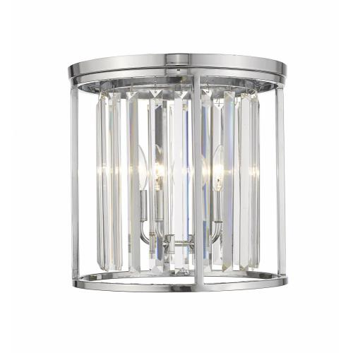 Z-Lite 439F14-CH Monarch - 3 Light Flush Mount in Fusion Style - 14 Inches Wide by 14 Inches High