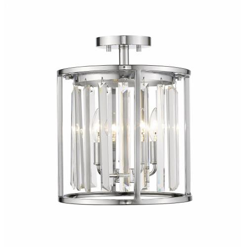 Z-Lite 439SF12-CH Monarch - 3 Light Semi-Flush Mount in Contemporary Style - 11.75 Inches Wide by 14.5 Inches High