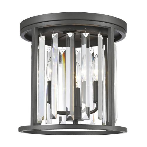 Z-Lite 439F12 Monarch - 3 Light Flush Mount in Fusion Style - 12 Inches Wide by 11.88 Inches High