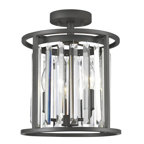 Z-Lite 439SF12 Monarch - 3 Light Semi-Flush Mount in Fusion Style - 11.75 Inches Wide by 14.5 Inches High