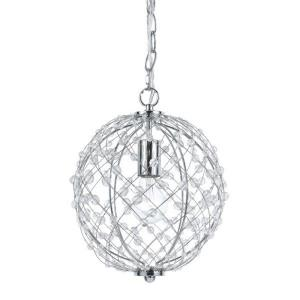 Silver Web - One Light Round Small Pendant