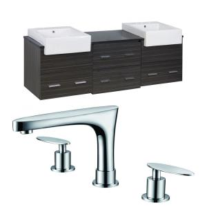 """Xena Farmhouse - 73.5"""" Wall Mount Vanity Set For 3H8-in. Drilling with Top"""