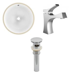 """16.5"""" Round Undermount Sink Set with 1 Hole Faucet and Overflow Drain Included"""