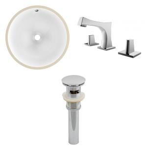 16.5 Inch Round Undermount Sink Set with 3H8-in. Faucet and Overflow Drain Included