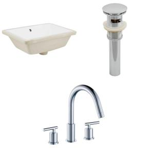 "18.25"" Rectangle Undermount Sink Set with 3H8-in. Faucet and Overflow Drain Included"